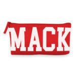 necessaire vermelha com Mack escrito branco ocupando toda área lateral